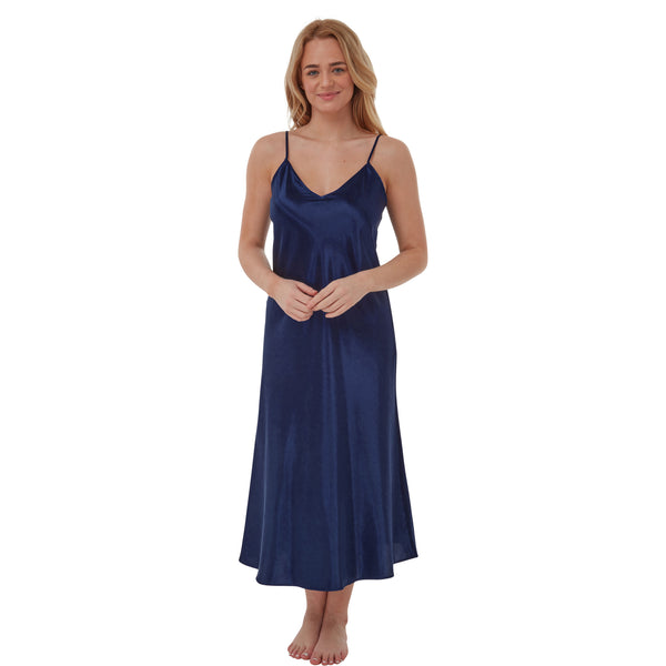 Long Full Length Navy Satin Chemise Nightdress PLUS SIZE
