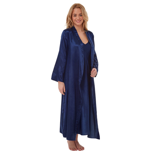 Matching Long Full Length Navy Satin Chemise Nightdress & Wrap Set PLUS SIZE