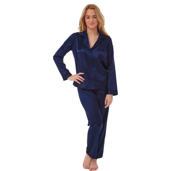 Ladies Plain Navy Blue Warm Lined Satin Pyjamas PJs PLUS SIZE