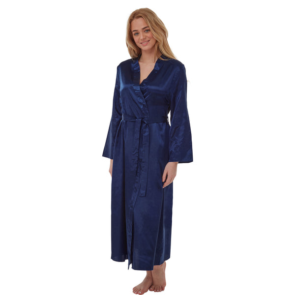 Long Full Length Satin Wrap Plain Navy PLUS SIZE