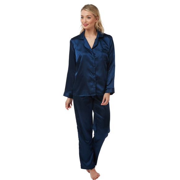 Plain Navy Blue Satin Pyjamas PJs PLUS SIZE