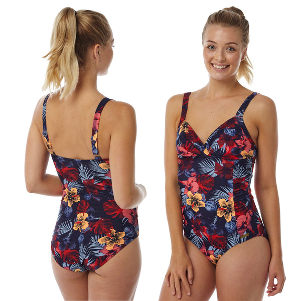 Navy Hibiscus Floral Swimming Costume Bathing Swimsuit One Piece PlusSize