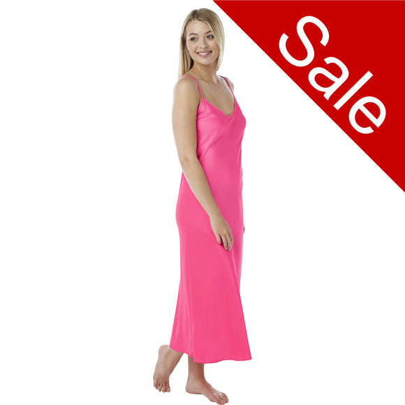 Sale Long Full Length Neon Bright Pink Chiffon Chemise