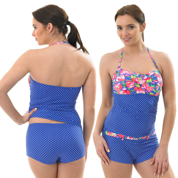 Blue Floral Tankini Set Swimwear Halterneck Swim Shorts Brief