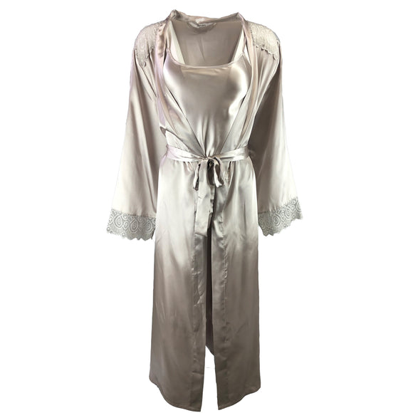 Matching Pewter Satin Chemise and Long Wrap Set