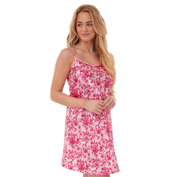 Pink Floral Satin Chemise Nightie PLUS SIZE