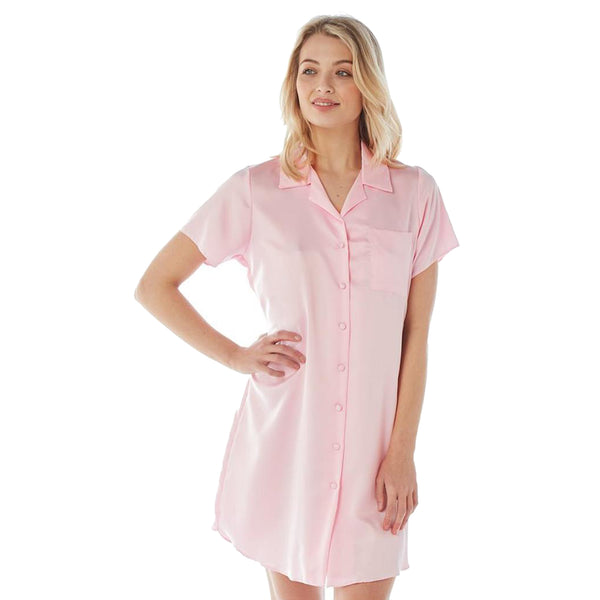 Rose Pink Satin Nightshirt Short Sleeve Knee Length