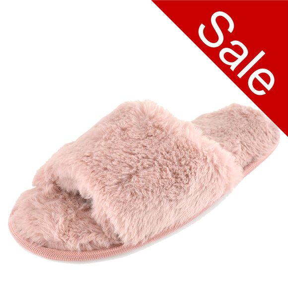 Ladies Pink Fluffy Open Toe Slippers Mule