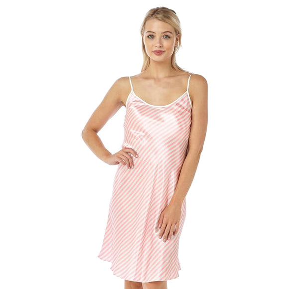 Pink Candy Stripe Satin Chemise Nightie
