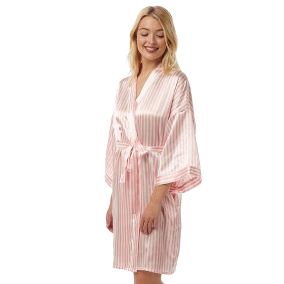 Pink Candy Stripe Satin Bathrobe Wrap Kimono Dressing Gown Robe