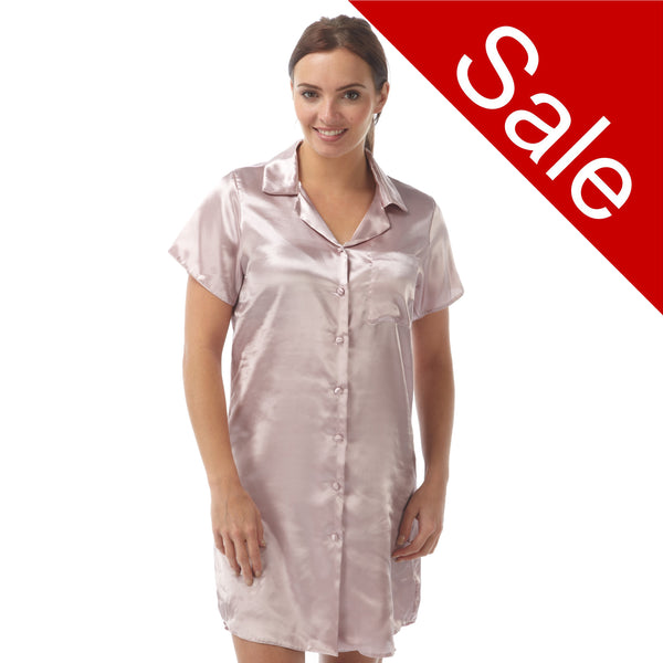 Sale Plain Pink Satin Nightshirt Short Sleeve Knee Length