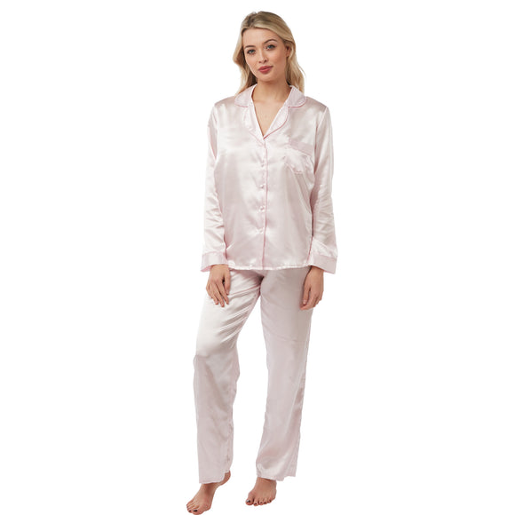 Plain Baby Pink Satin Pyjamas PJs PLUS SIZE
