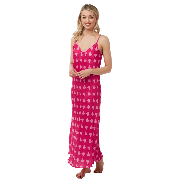 Long Full Length Pink Heart Print Satin Chemise Nightdress PLUS SIZE
