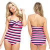 Halterneck Pink White Stripe Swimming Costume Bathing Swimsuit One Piece