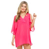 Pink Chiffon Cold Shoulder Kaftan Cover Up