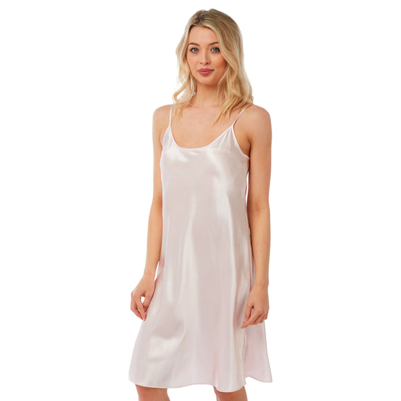 Plain Pastel Pink Satin Chemise Nightie PLUS SIZE