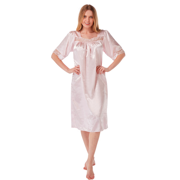 Plain Pink Satin and Lace Short Sleeve Nightdress PLUS SIZE