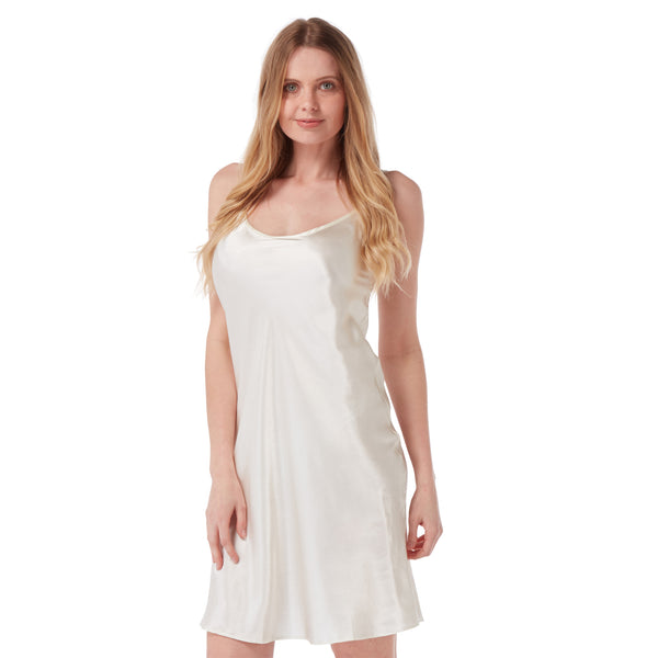 Plain Ivory Cream Satin Chemise Nightie Short Slip