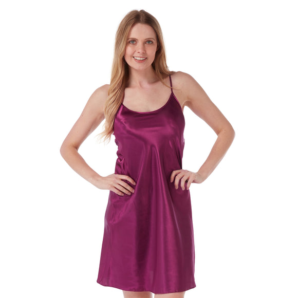 Plain Plum Purple Satin Chemise Nightie PLUS SIZE