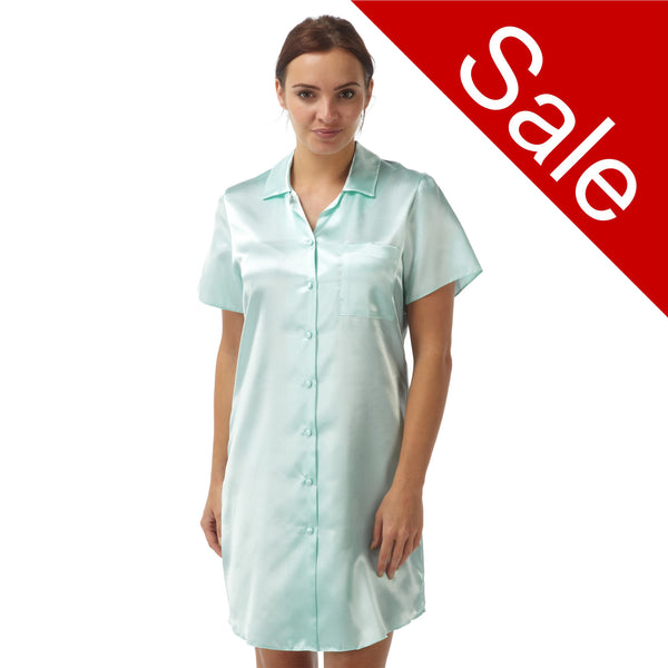 Sale Plain Aqua Satin Nightshirt Short Sleeve Knee Length