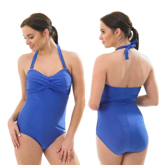 Plain Blue Swimming Costume Bathing Swimsuit Low Leg Halterneck