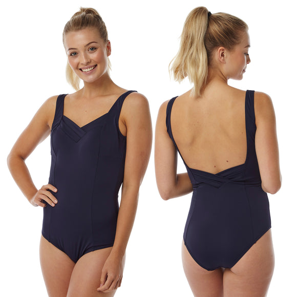 Plus Size Navy Blue Swimming Costume Bathing Swimsuit One Piece