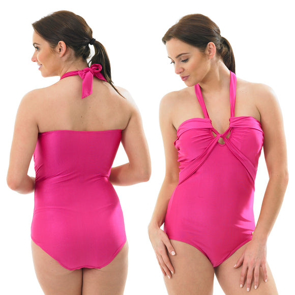 Plain Pink Swimming Costume Bathing Swimsuit Low Leg Halterneck