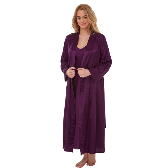 Matching Long Full Length Purple Satin Chemise Nightdress & Wrap Set PLUS SIZE