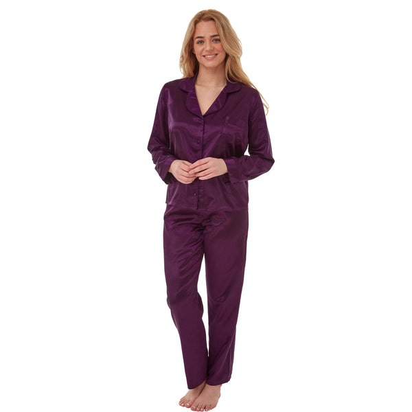 Ladies Plain Purple Warm Lined Satin Pyjamas PJs PLUS SIZE