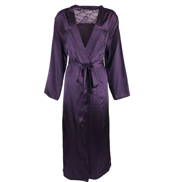 Long Plain Cadbury Purple Satin and Lace Wrap