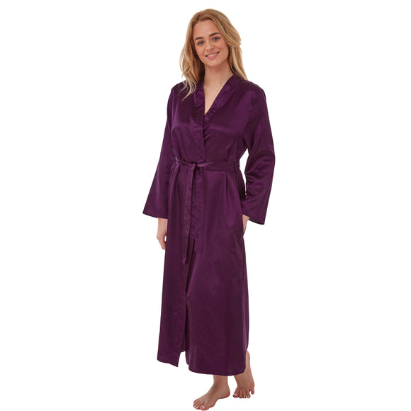 Long Full Length Satin Wrap Plain Purple PLUS SIZE