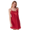 Plain Red Satin and Lace Chemise Adjustable Straps Knee Length