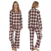 Red Cream Check Tartan Flannelette Wincey PJs Pyjama Set 100% Cotton