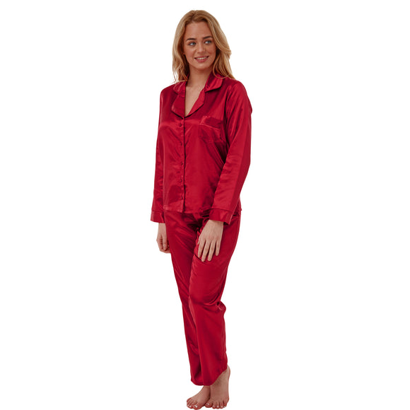 Ladies Plain Red Warm Lined Satin Pyjamas PJs PLUS SIZE