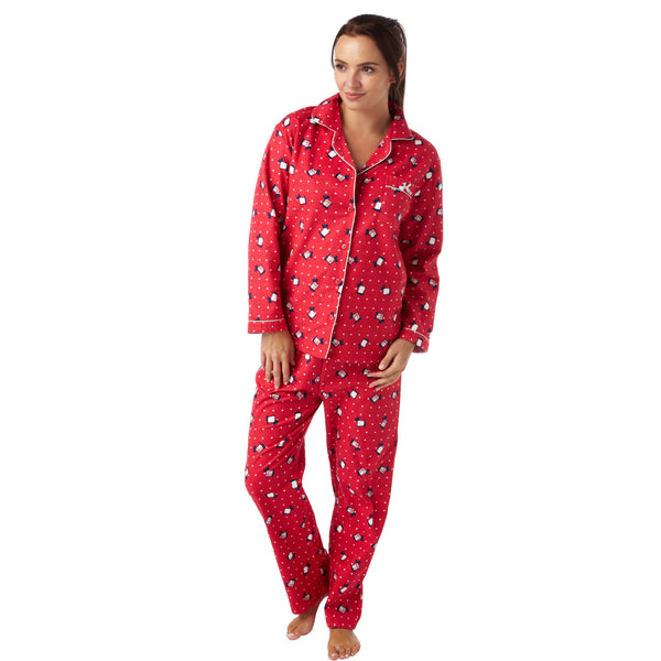 Red Scotty Dog Polka Dot Pattern Flannelette Wincey PJs Pyjama Set 100% Cotton