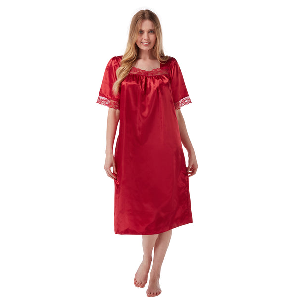 Plain Red Satin and Lace Short Sleeve Nightdress PLUS SIZE