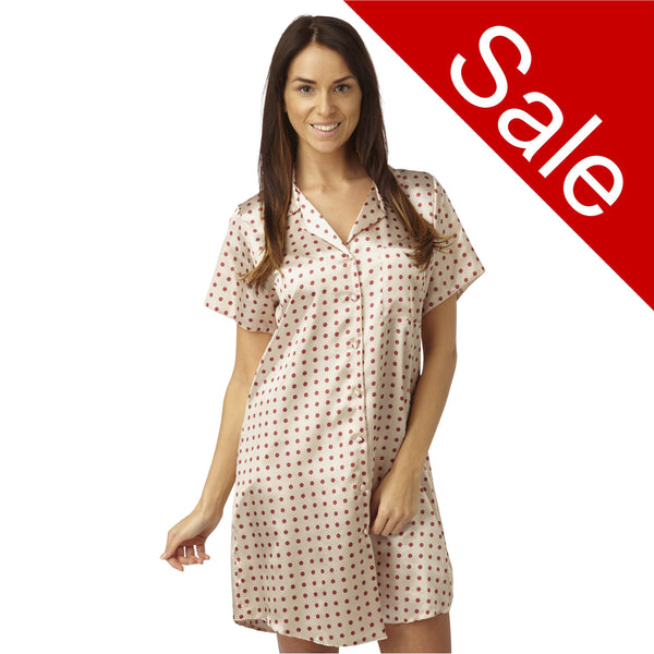 Sale Red Polka Dot Spot Satin Nightshirt Short Sleeve Knee Length