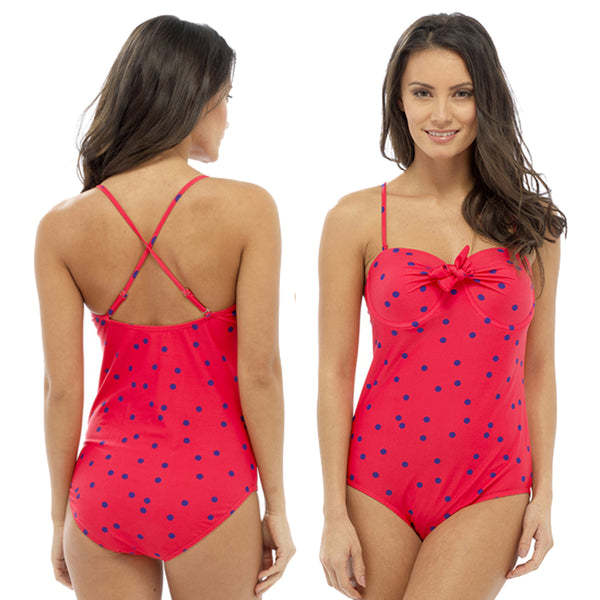 Red Swimming Costume Bathing Swimsuit One Piece Bandeau Multiway Straps