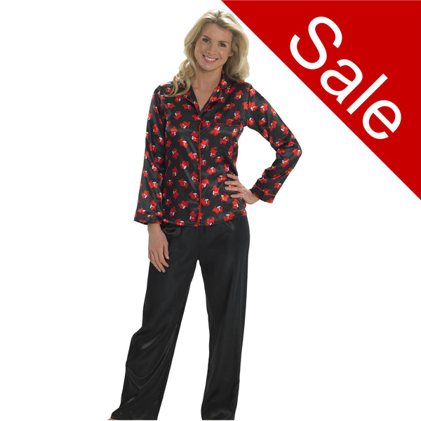 Sale Black Red Scotty Dog Satin Pyjamas PJs Full Length Long Sleeve