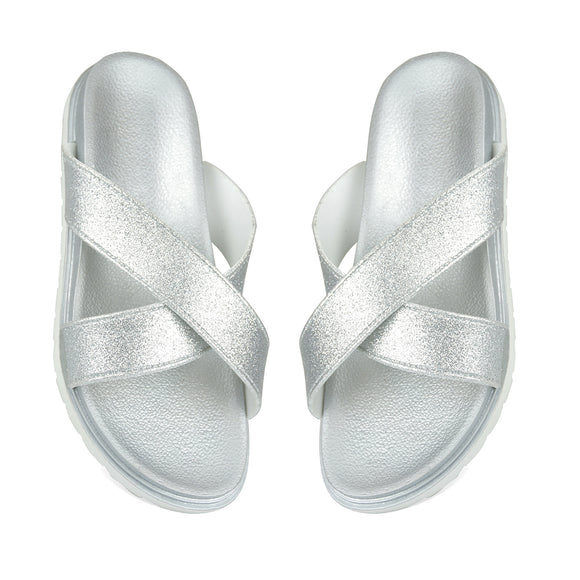 Silver Sparkle Pool Sliders Flip Flops Beach Sandals
