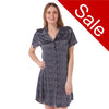 Sale Navy Star Print Satin Nightshirt Short Sleeve Knee Length