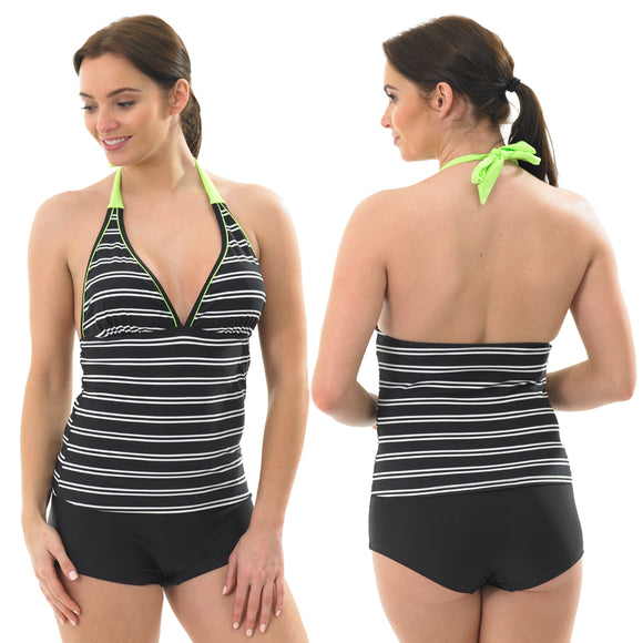 Black Stripe Tankini Set Swimwear Halterneck Swim Shorts Brief Low Leg