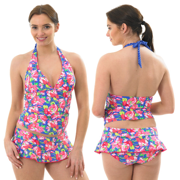 Tropical Pink Summer Floral Tankini Set Halterneck Skirt Low Leg