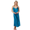 Ladies Long Full Length Plain Teal Satin Chemise PLUS SIZE