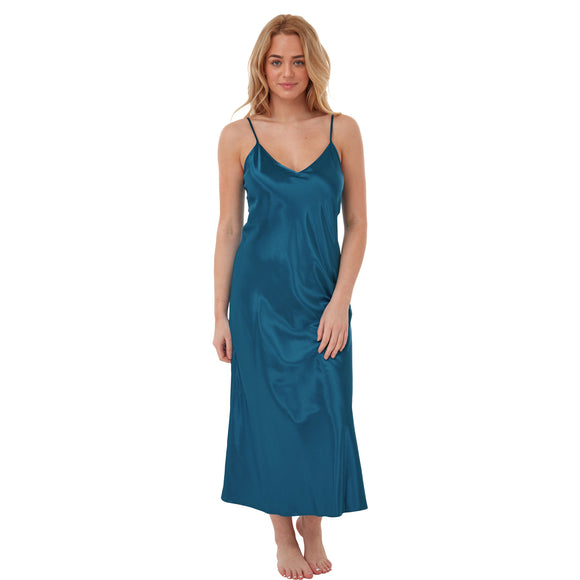 Long Full Length Plain Teal Satin Chemise Nightdress PLUS SIZE