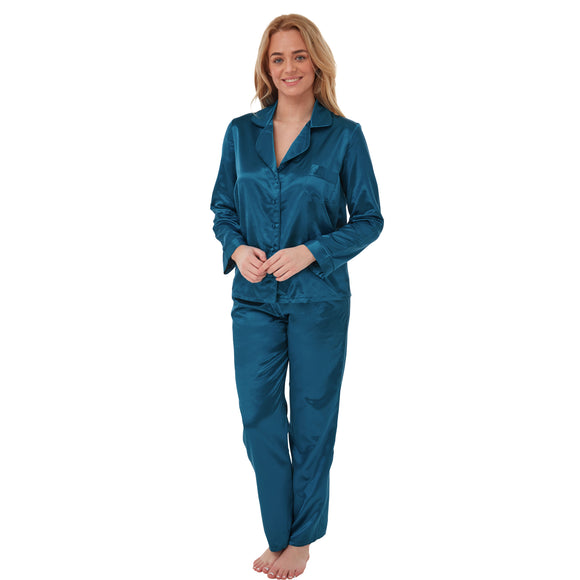 Ladies Teal Satin Warm Lined Pyjamas PJs Set PLUS SIZE
