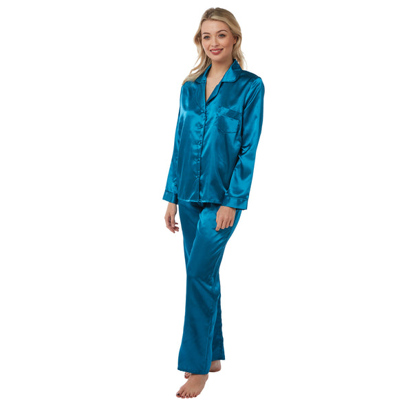 Ladies Teal Satin Pyjamas PJs Set PLUS SIZE