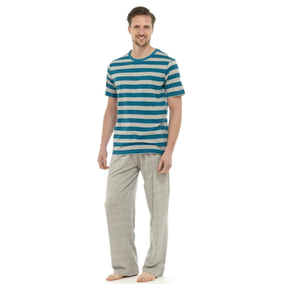 Turquoise Grey Stripe Mens PJs Pyjamas Set Short Sleeve T Shirt