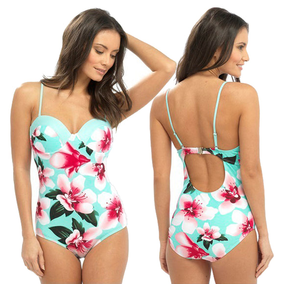Turquoise Hibiscus Swimming Costume Bathing Swimsuit detachable Strap