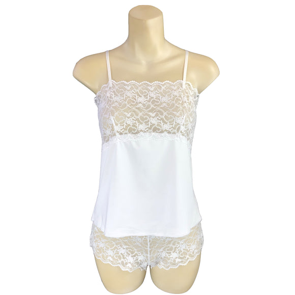 Plain White Viscose Lace Cami Set with French Knickers
